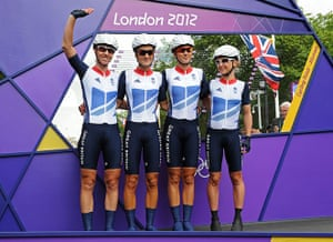 Women's road race: Britain's Nicole Cooke, Elizabeth Armitstead, Lucy Martin and Emma Pooley