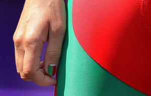Women's road race: Belarus' Alena Amialiusik with national nail colors at the sign in ceremony
