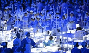 Dancers in the NHS sequence in the London 2012 opening ceremony