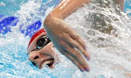 Rebecca Adlington of Britain swims in the women's 400m freestyle final