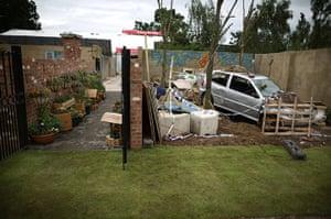 Hampton Court flower show: A wrecked car in the Chris Beardshaw designed Urban Oasis gardens