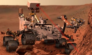 An artist's impression of Nasa rover Curiosity using its ChemCam instrument on Mars