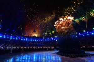 Olympic cauldron: The Olympic Cauldron lit during the Opening Ceremony