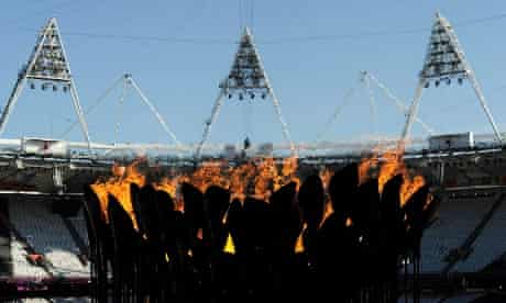 The flame has been relit and the Olympic Cauldron now sits in its new position in the Olympic Stadium. Photograph: Paul Hackett/ Reuters