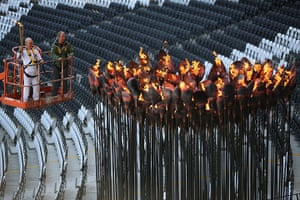 Olympic cauldron: Olympic Cauldron is re-lit following it being moved