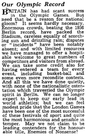 Observer editorial on Olympic success 1948