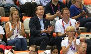 David Cameron at the Olympic diving