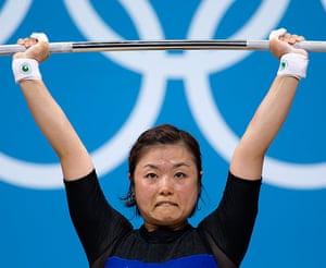 Weightlifting faces: Eun-Hye Yang of South Korea