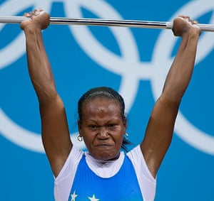 Weightlifting faces: Wini Jenly Tegu of the Solomon Islands