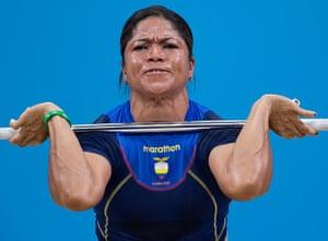 Weightlifting faces: M.A. Guerrero Escobar of Ecuador