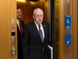 Former Vice President Dick Cheney, who also served five terms as Wyoming's representative in the House, returns to the Capitol to meet with Senate Republican leaders at a political strategy luncheon, in Washington, Tuesday, July 17, 2012. He is accompanied by Sen. John Barrasso, R-Wyo., the Republican Policy Committee chairman.  (AP Photo/J. Scott Applewhite)