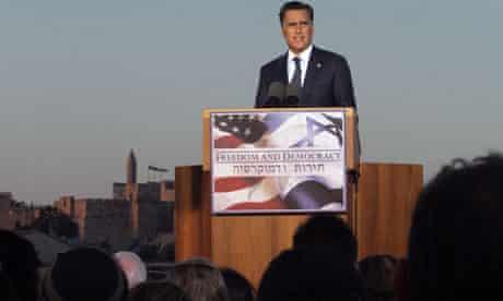 US Repulican presidential candidate Mitt Romney speaking in Jerusalem
