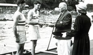 1948 Olympics Britain gold coxless pairs Wilson and Laurie receive their medals