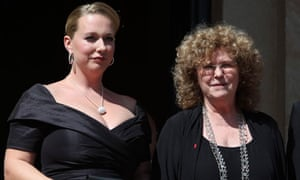 Katharina Wagner and Eva Wagner-Pasquier arrive on the red carpet in  Bayreuth