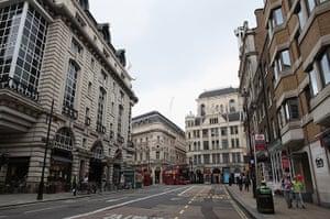 Quiet London: Roads clear of traffic on Haymarket