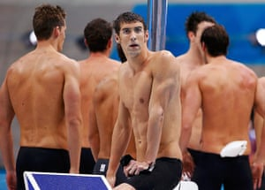 phelps gallery: Michael Phelps looks down at the pool
