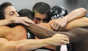 phelps gallery: Michael Phelps celebrates after winning the men's 4X100m freestyle