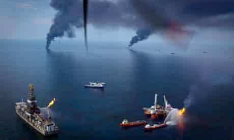 Oil is burned off the surface of the water near the Deepwater Horizon spill in the Gulf of Mexico