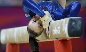 Britain's gymnast Hannah Whelan performs on the beam during the women's team final of the artistic gymnastics event