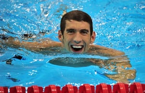 silly swimmer: Michael Phelps smiles after swimming the final leg