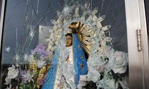 Vandalised Virgin Mary on Falklands