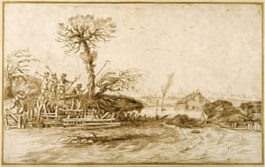 Old Masters: A river in flood, and peasants with axes, by Giovanni Francesco Barbieri