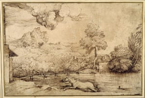 Old Masters: Landscape - a riderless horse pursued by a serpent by Titian