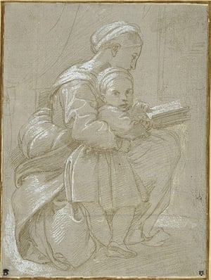 Old Masters: Seated woman reading with child by Raphael