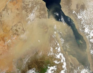 Satellite eye on earth: Dust formed a giant arc over the Red Sea