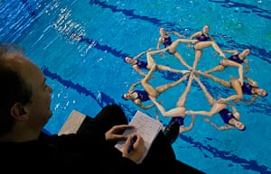 Critics meet Olympians: Critic Peter Bradshaw with the British Olympic synchronised swimming team