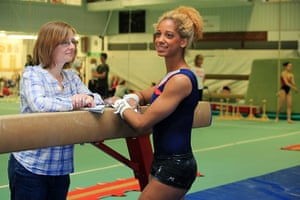 Critics meet Olympians: Critic Lucy Mangan with Danusia Francis at Heathrow Gymnastics Club