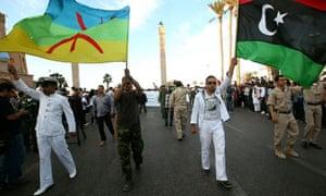 Libya's National Army wave a Berber flag