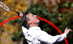 David Cameron playing badminton in March 2012.