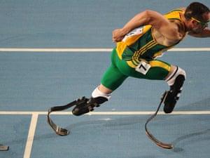 Oscar Pistorius competing in South Korea in 2011.