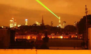 The Shard puts on a light show on 4 July 2012. Photograph: Paul Owen