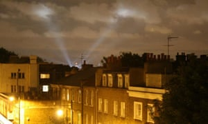A light show at the Olympic Stadium in London on 4 July 2012. Photograph: Paul Owen