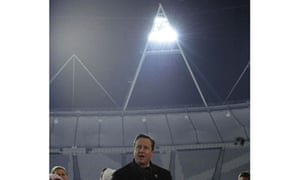 David Cameron makes a speech at the Olympic Stadium in London after switching on the floodlights
