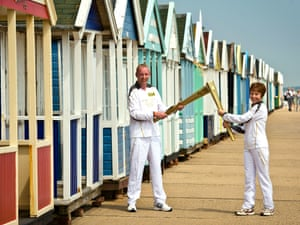 The Olympic torch at the beach in Southwold on 5 July 2012.