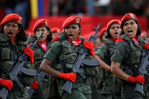 Picture Desk Live: woman soldiers march during a parade marking Venezuela's Independence Day