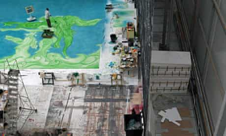 Chris Ofili works on his backdrop for Metamorphosis: Titian 2012