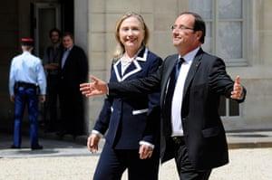 Picture Desk Live: France's President Francois Hollande (R)