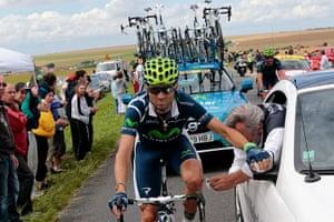 Picture Desk Live: Spain's Alejandro Valverde receives medical help during Tour de France
