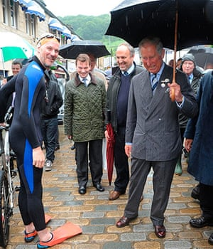 Rain: Prince Charles visits Hebden Bridge
