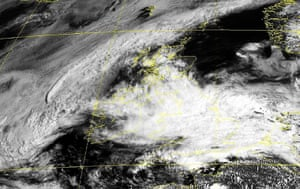 Rain: A satellite image showing clouds covering Great Britain