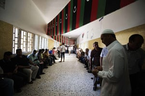 Libya Elections: Libyan voters queue at a polling station