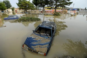 Russia Floods: Submerged vehicles in Krymsk