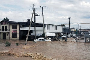 Russia Floods: A stranded car on a flooded street in Krymsk