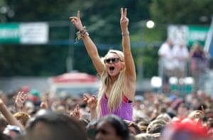Wireless festival: A festival goer enjoys the music on Saturday