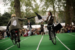 Chap Olympiad 2012: Competitors take part in the Umbrella Jousting event