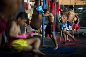 24 hours: Bangkok, Thailand: Students from 96 Penang, a Muay Thai boxing camp train